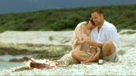 SLO MO Couple in love drinking champagne on the beach video