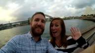 Couple in Sydney harbour selfie in slow motion video