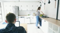 Couple in the kitchen. video