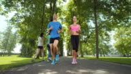 SLO MO TS Couple jogging through tree avenue video