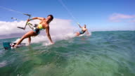 Couple Kite Surfing In Ocean, Extreme Summer Sport video