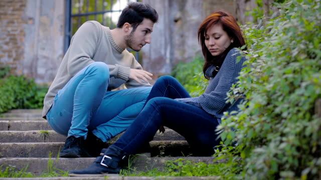 couple makes peace after argument: loneliness,, pain, love video