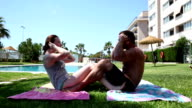 Couple making sport during holidays, exercising their abds video