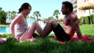 Couple making sport during holidays, in time lapse format video