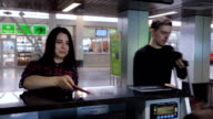 Couple, man and woman came to reception desk at airport video