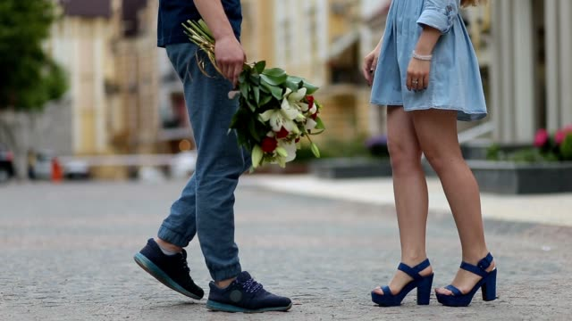 Couple meeting on romantic date in the city street video