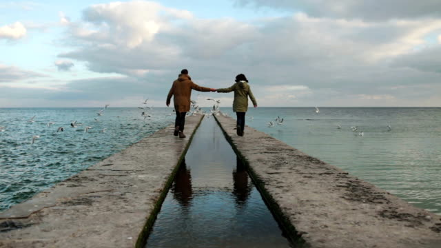 Couple near the sea video