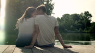 Couple on landing stage video