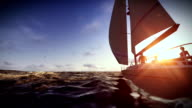 Couple on luxury yacht at sunrise video