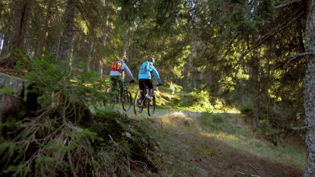 SLO MO Couple on mountain bikes riding through forest video