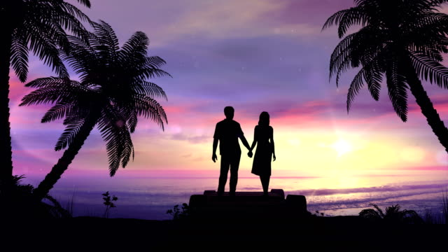 Couple on the tropical sunset background video