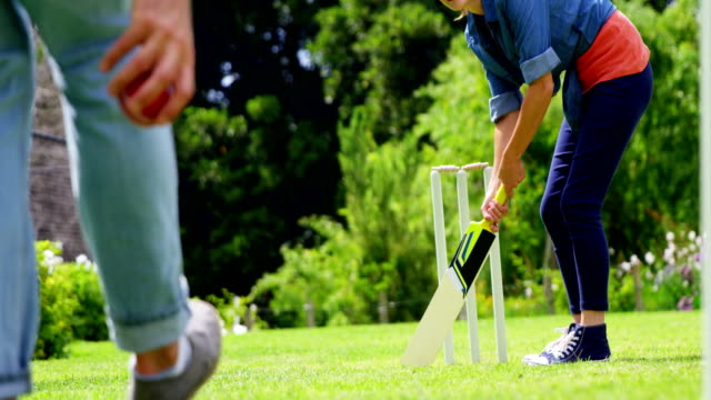 Couple playing cricket video