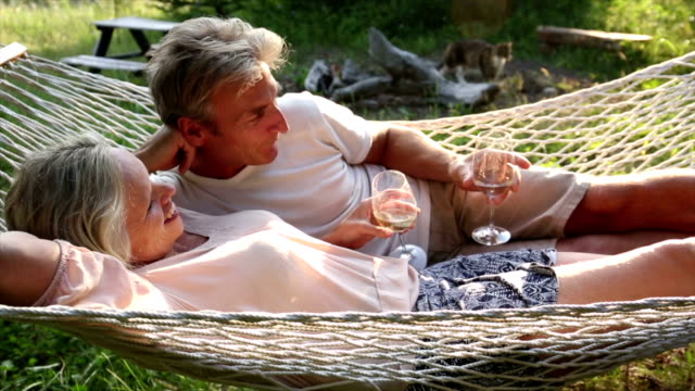 Couple relax in hammock with glasses video