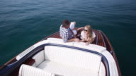 Couple relaxing on yacht video