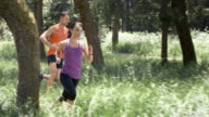 SLO MO DS Couple running in forest video