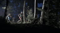 AERIAL Couple running in forest at night video