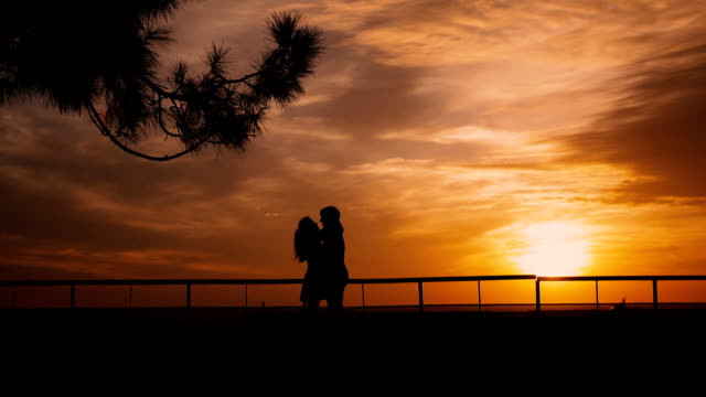 Couple silhouette at the beach sunrise video