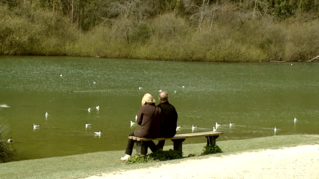 Couple sit in beautiful park HD video