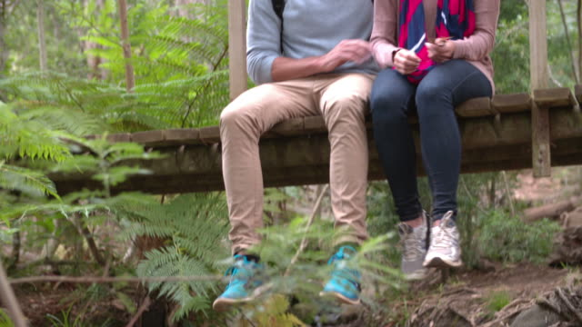 Couple sitting on a wooden bridge in a forest video
