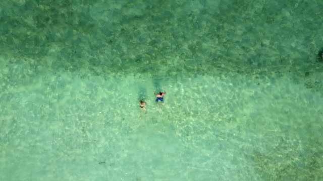 Couple swimming in Indian ocean on an empty beach , view from above. Aerial footage of two lovers on honeymoon bathing in blue emerald sea video