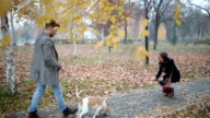 Couple Taking Dog For Walk In City Park video