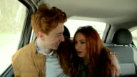 Couple talking in the car video
