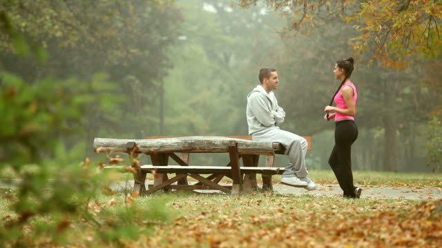 Couple Talking Outdoors video