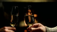 HD DOLLY: Couple Toasting Champagne video