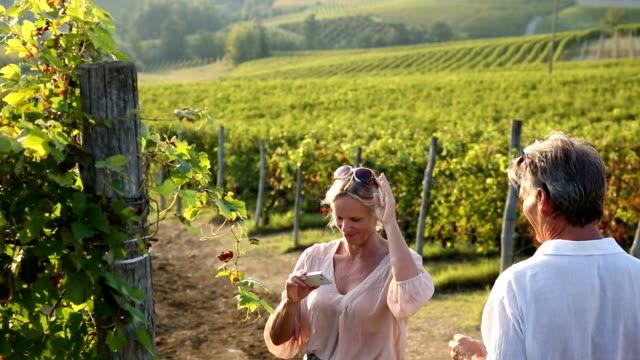 Couple walk into vineyard, take smart phone pic video