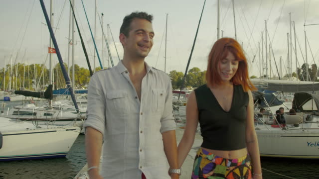 Couple Walking at the Marina video