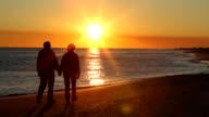 Couple Walking Away Sunset video