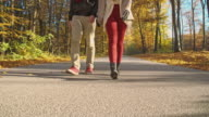 SLO MO Couple walking in the autumn forest video