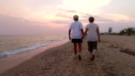 Couple walking. Slow motion video