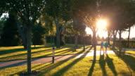 Couple walks near trees. video