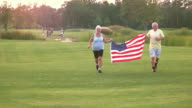 Couple with American flag. video