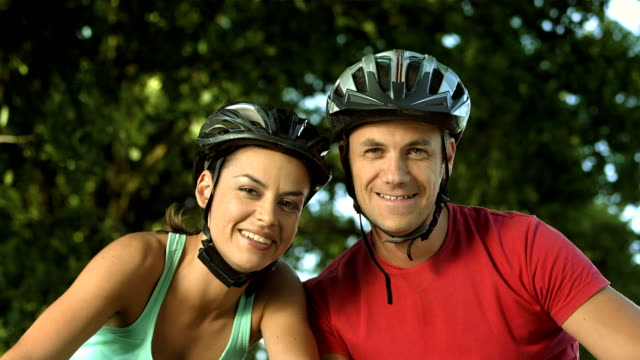 HD: Couple With Bicycles Having Video Call video