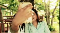 Couples woman Take Selfie Together With Smart phone, Slow motion video