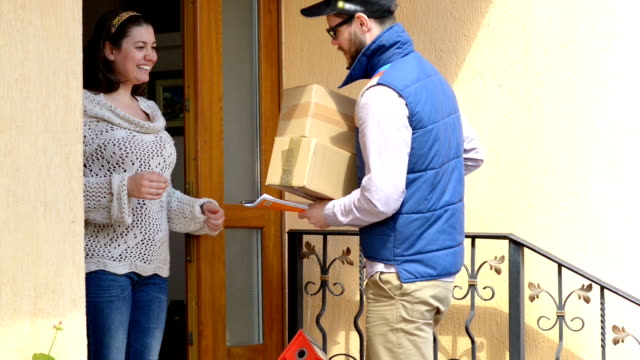 Courier Delivering a Package video