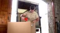 Courier / Delivery man Taping up box in Warehouse video