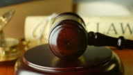 Court law justice litigation concept with gavel and hammer video