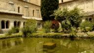 Courtyard at abbey St Guilhem le Desert, Cevennes France video