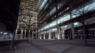 Courtyard of glass building in city 2 video