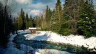Covered Bridge In Snowy Winter Landscape video