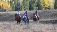 Cowboy and Cowgirls riding on horseback through the foothills video