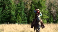 Cowboy galloping on horseback video