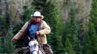 Cowboy galloping on horseback video
