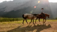 Cowboy leads horses across mountain meadow video