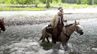 Cowboys crossing  a river on horseback video