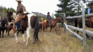 Cowboys on old west cattle roundup video