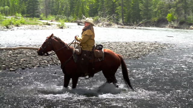 Cowgirl crossing river on horseback  with fellow Cowboys video